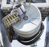 Round of ammunition loaded into .50-caliber machine gun