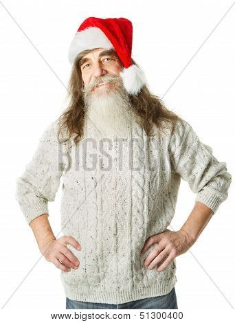 Christmas Old Man With Beard In Red Hat