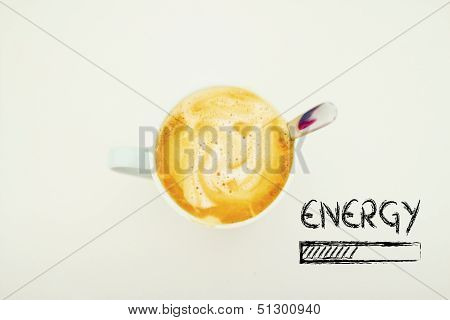 Cup Of Coffee With Energy Progress Bar Loading