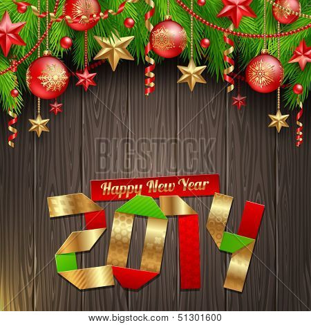 2014 new year greeting with holidays decoration - vector illustration