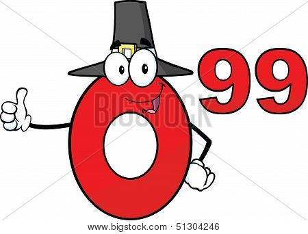 Price Tag Red Number 0 99 With Pilgrim Hat Cartoon Character Giving A Thumb Up