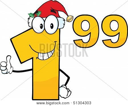 Price Tag Number 1 99 With Santa Hat Cartoon Character Giving A Thumb Up