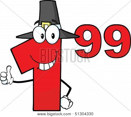 Price Tag Red Number 1 99 With Pilgrim Hat Cartoon Character Giving A Thumb Up