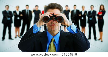 Businessman with binoculars. Job search concept background.
