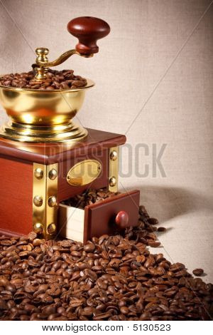 Coffee Mill And Coffee Beans
