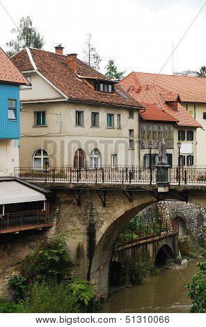 Capuchin's Bridge In Skofja Loka