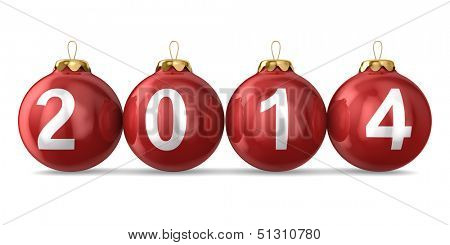Christmas decoration on white background. 2014 year. Isolated 3D image