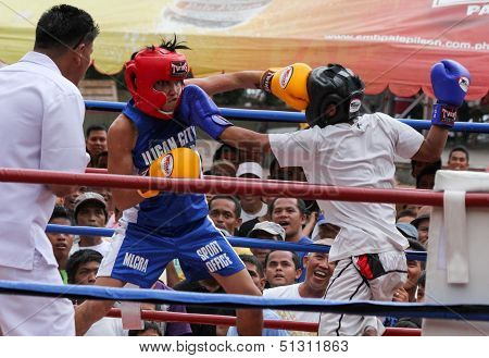 Fighters throwing punches