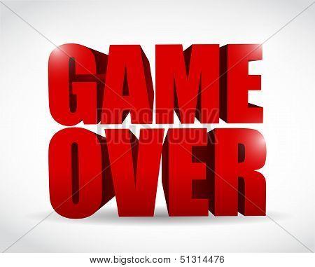 Game Over Text Sign Illustration Design
