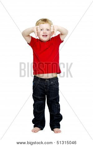 Young Boy Isolated On A White Background
