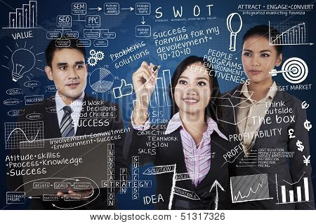 Business Team Writing On Transparent Blue Background