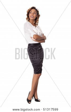 Attractive Business Woman Looks Up And To The Side.