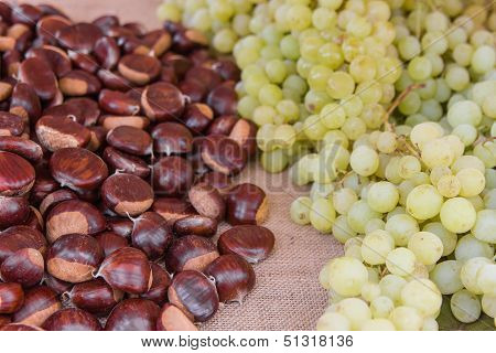 Autumn Chestnuts And Grapes