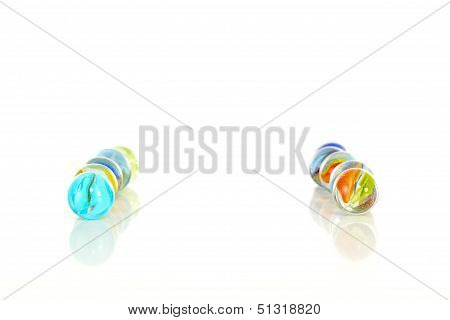 Colourful Marbles On White Background