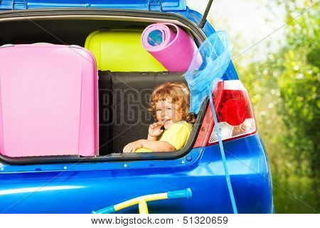 Child Ready For Car Trip