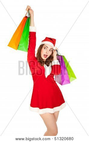 Beautiful Woman In New Year Costume With Shopping Bags