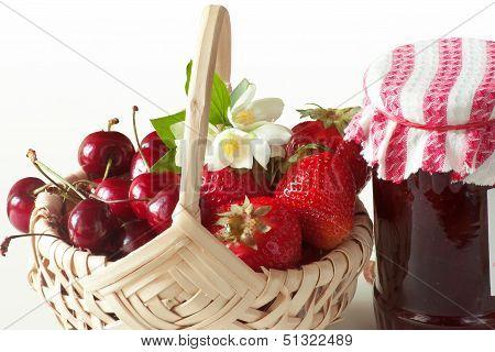 Fruit Basket And Jar Of Jam