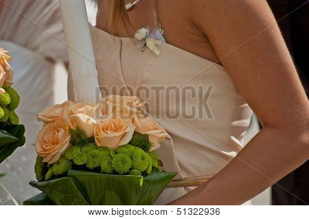 Bridesmaid With Candle Decorated For Wedding