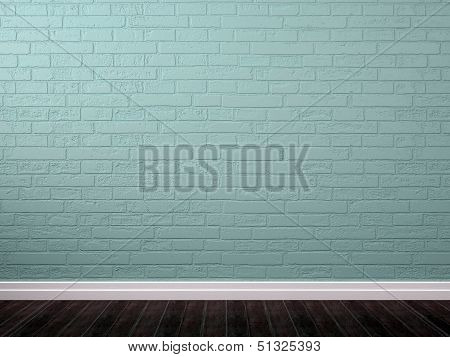 Background  Of Blue Brick And Brown Parquet