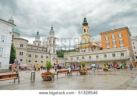 Residenzplatz Square In Salzburg, Austria.