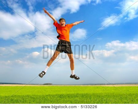 Happy Teenager Jumping