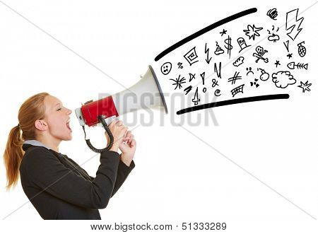 Young angry business woman ranting in a megaphone with symbols coming out