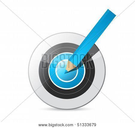 Pencil Hitting The Target. Illustration Design