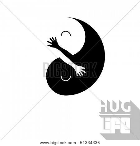 Ying Yang Vector illustration with positive message