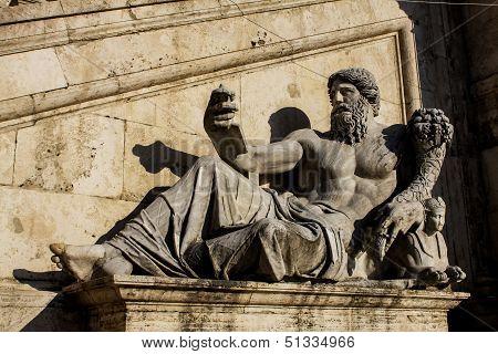 Statue With Horn Of Plenty At Piazza Del Campidoglio In Rome