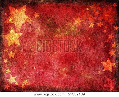 Red Christmas Card With Gold Stars