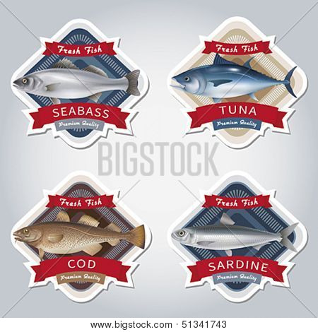 Set of labels with marketable fish. Vector illustration.