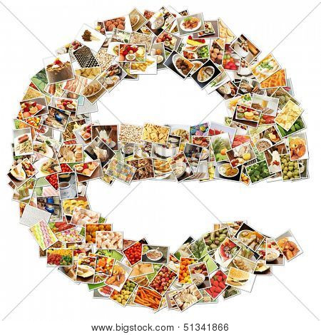 Food Art E Lowercase Shape Collage Abstract