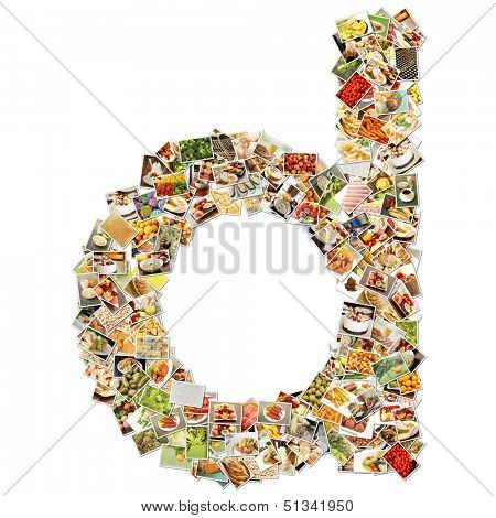 Food Art D Lowercase Shape Collage Abstract