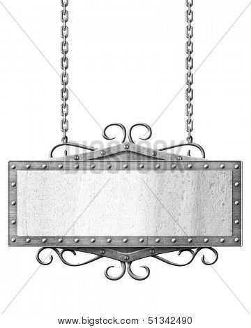 metal road sign hanging on chains isolated
