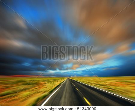 blured road and blured sky