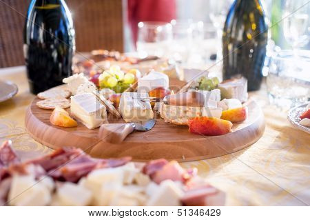 Cheese And Fruits As Appetizer