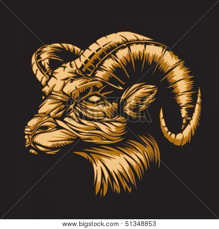 Ram with a black background representing Aries zodiac sign or just a sharp vector graphic for general use. Layered and easy to edit.