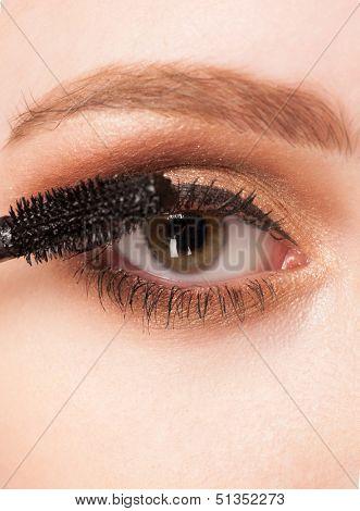 Mascara Applying. Mascara Brush. Closeup of woman applying mascara