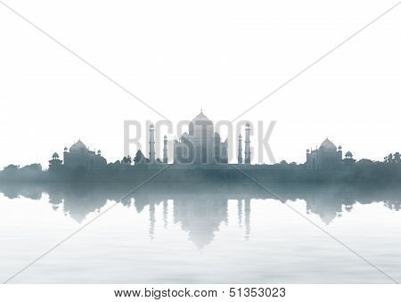 India Landmark - Taj Mahal Panorama With Fog