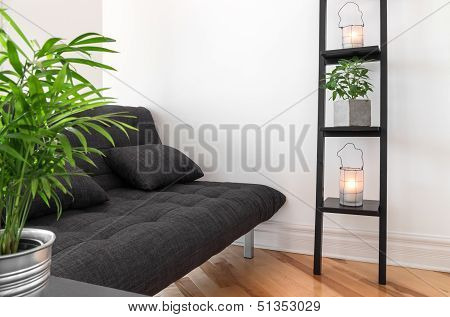 Living Room Decorated With Plants And Lanterns