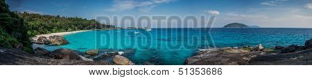 Huge Panorama Of Perfect Tropical Island Beach And Rocks With Turqoise Sea At Similan Marine Park. T