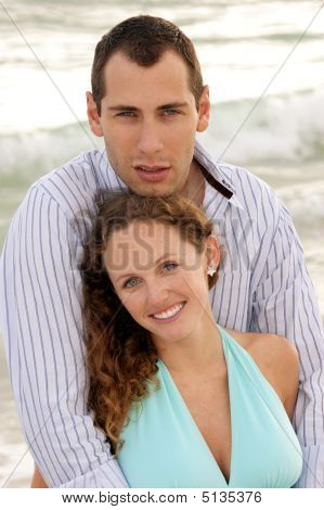 Outside Portrait Of Young Attractive Happy Couple