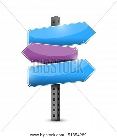 Three Way Question Mark Road Sign Illustration