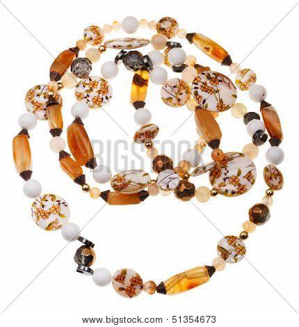 Necklace From Nacre, Agate, Hematite, Quartz