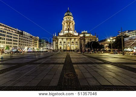 German Cathedral On Gendarmenmarkt Square At Night, Berlin, Germany