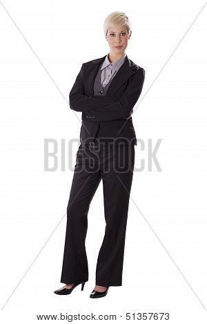 Full Length Portrait Of Serious Business Woman.