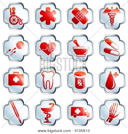 White Glossy Medical Buttons