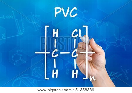Hand with pen drawing the chemical formula of PVC