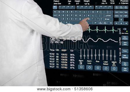 A Medical Professional Enters Information On A Futuristic Computer.