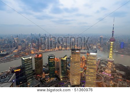 Overlooking Shanghai At Evening